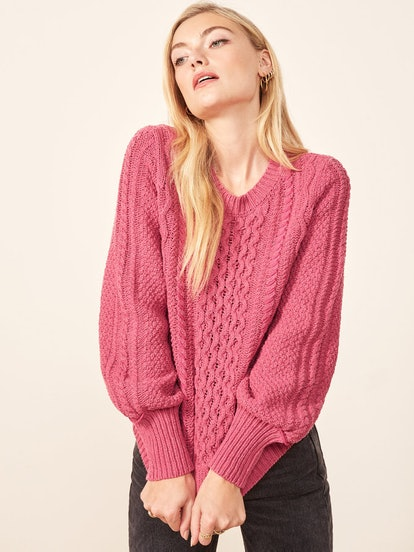 La Ligne X Reformation Sail-Away-With-Me Sweater in Hot Pink