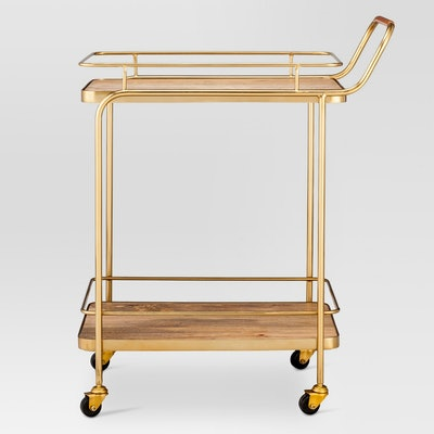 Threshold™ Metal, Wood, and Leather Bar Cart - Gold