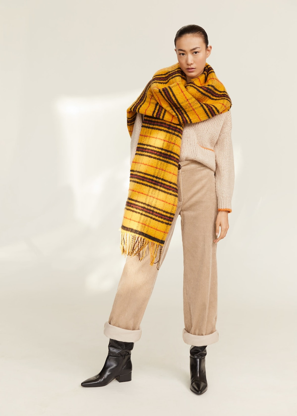 Maxi checked scarf