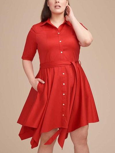 Red Handkerchief Hem Shirtdress