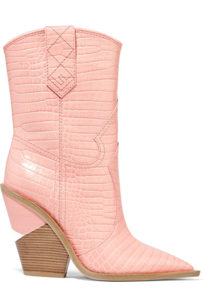 Fendi Croc-Effect Leather Boots in Pink
