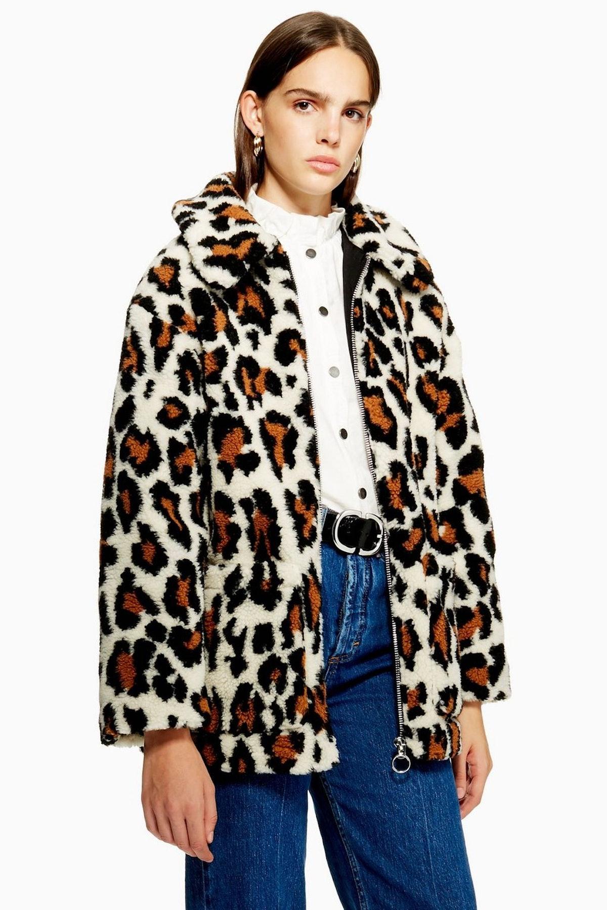 Leopard Print Borg Zip Up Jacket