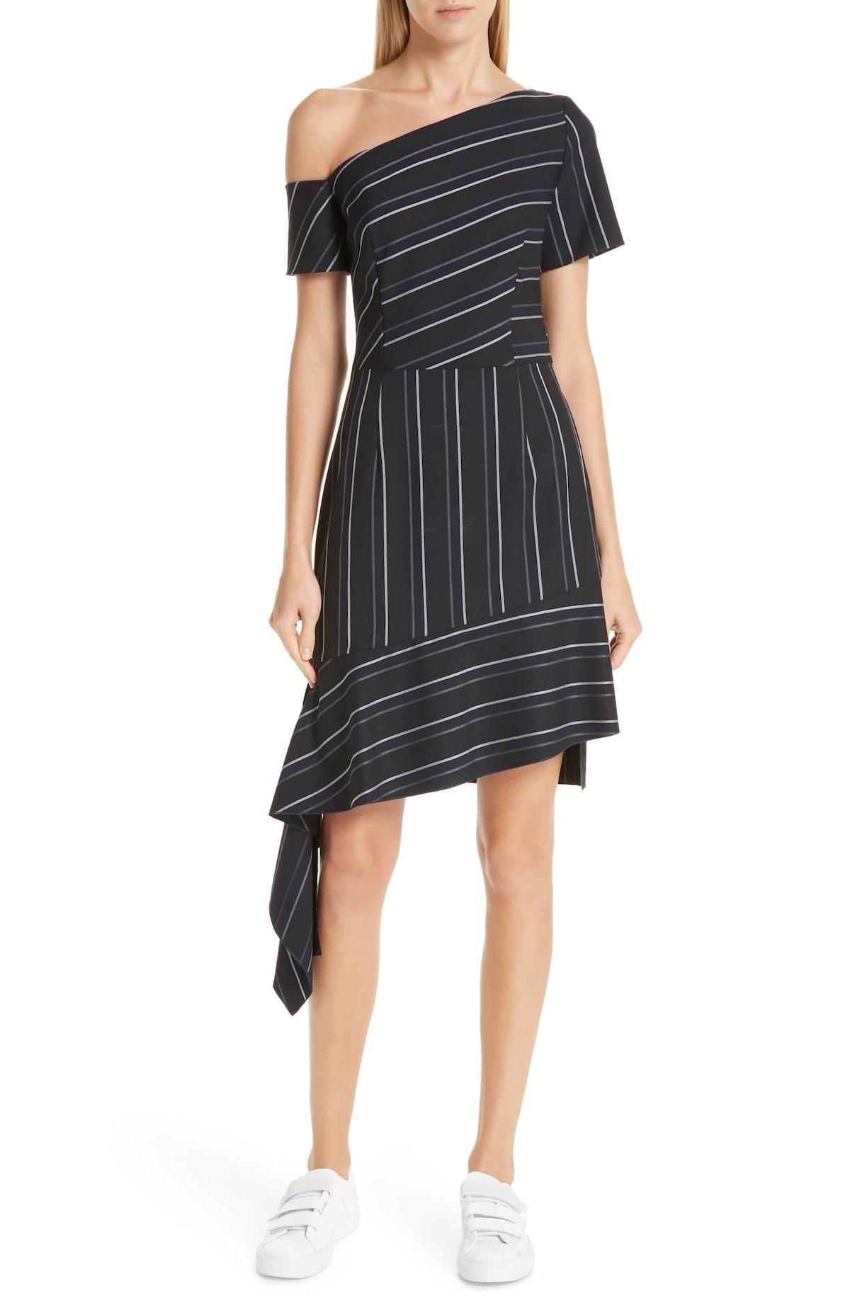 Kaloras Asymmetrical Pinstripe Dress