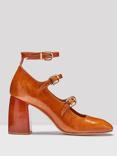 Mary Walnut Leather Heels