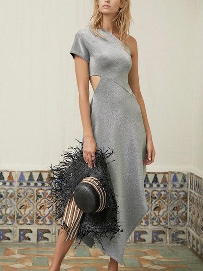 Asymmetric Cutout Jersey Midi Dress