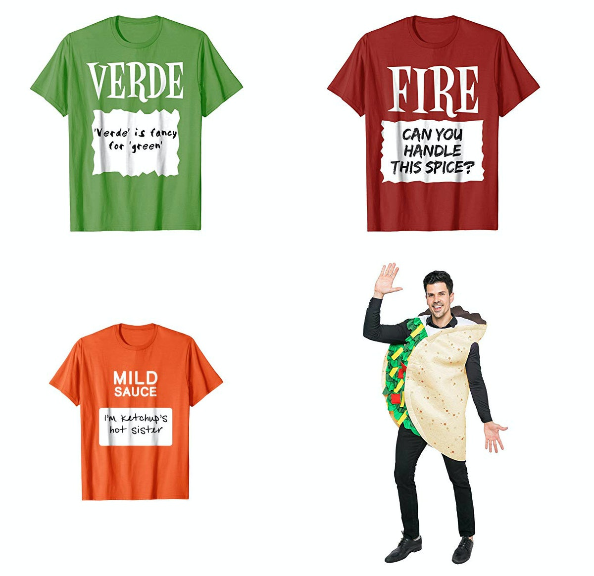 Hot Sauce Group T-Shirt + Taco Costume ($20 for each T-shirt, taco costume sold separately)