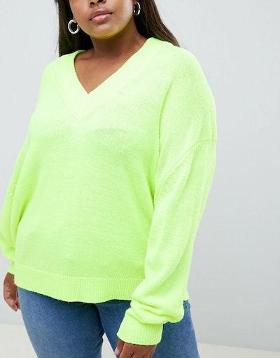 Curve Oversized Fluro V-Neck Sweater