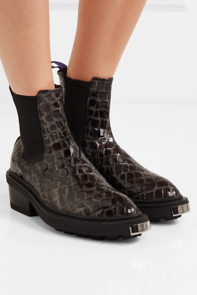 Eytys Nikita Croc-Effect Leather Ankle Boots