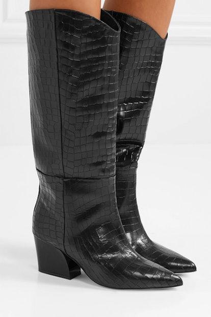 Tibi Logan Croc-Effect Leather Knee Boots