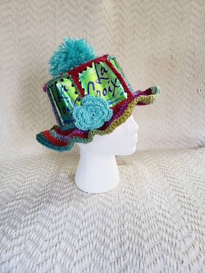 LaCroix Lime Handmade Crochet Sparkling Water Can Hat