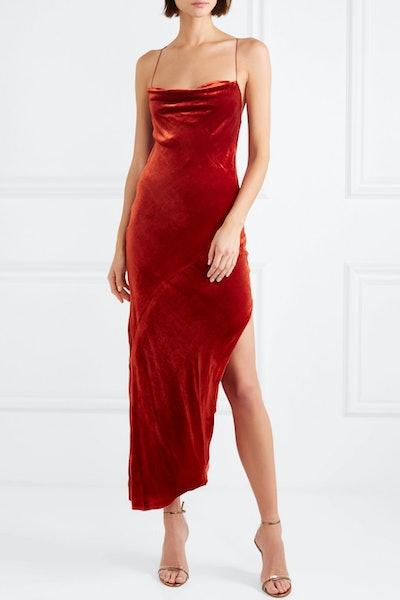Goldie Asymmetric Velvet Midi Dress