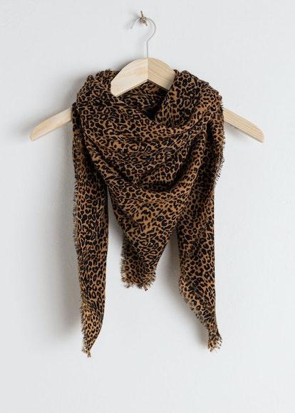 Leopard Print Wool Scarf