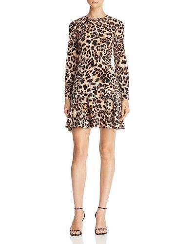 Flounce-Hem Leopard Print Dress