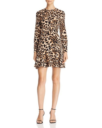 Flounce-Hem Leopard Print Dress