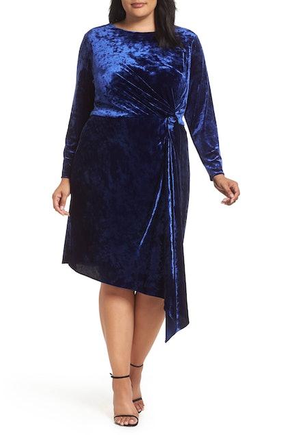 Velvet Asymmetrical Sheath Dress