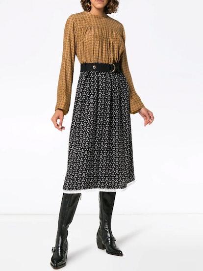 Contrast Top Silk Midi Dress
