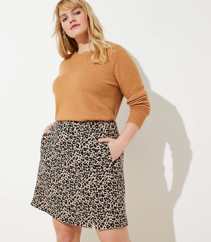 Plus Leopard Jacquard Pocket Skirt