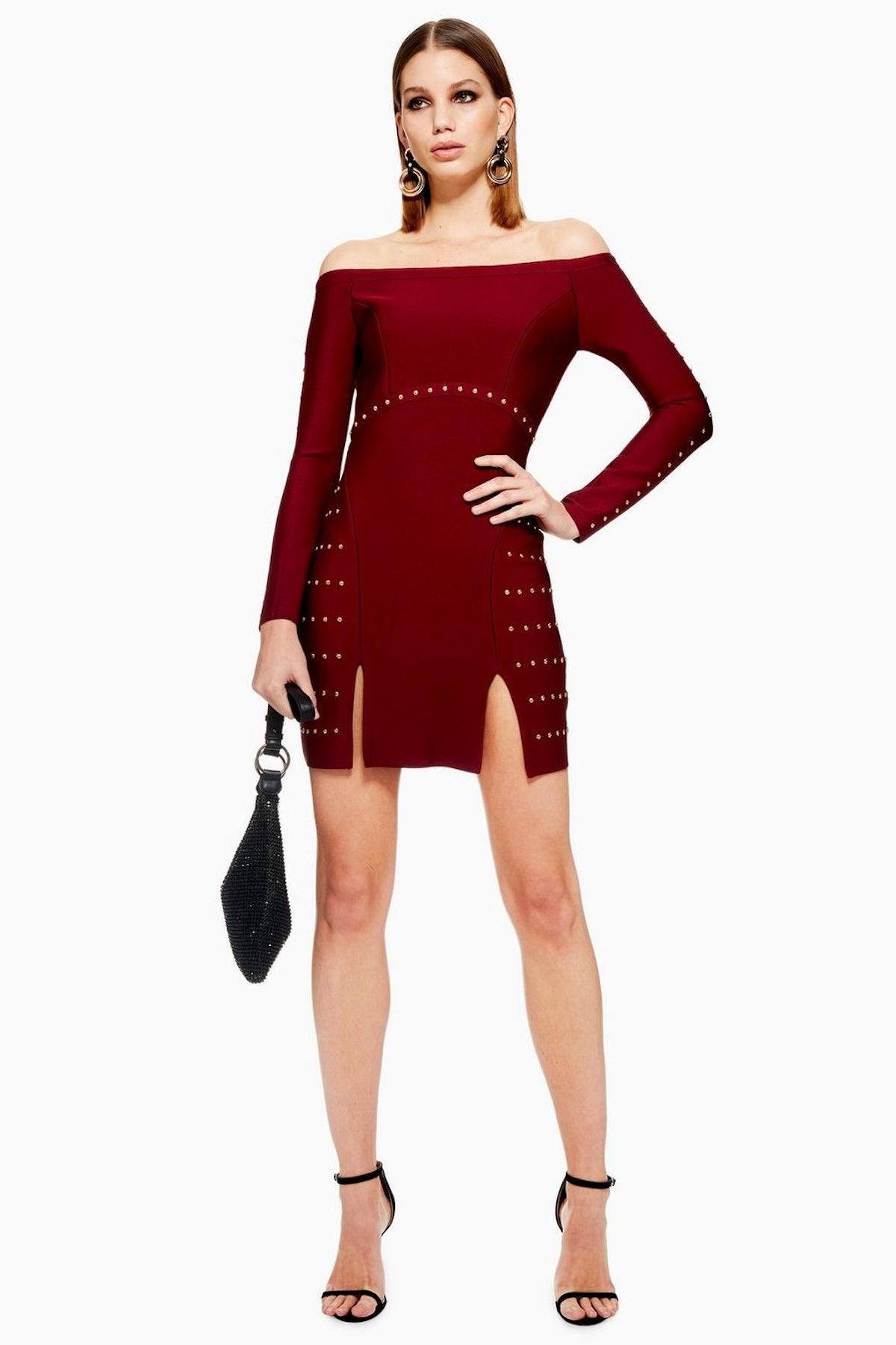 Studded Bardot Bandage Dress
