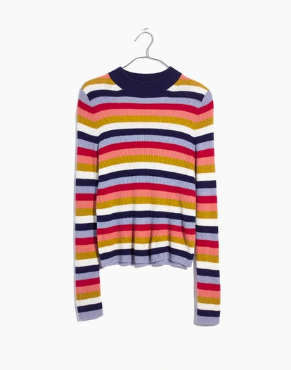 Mockneck Pullover Sweater in Stripe