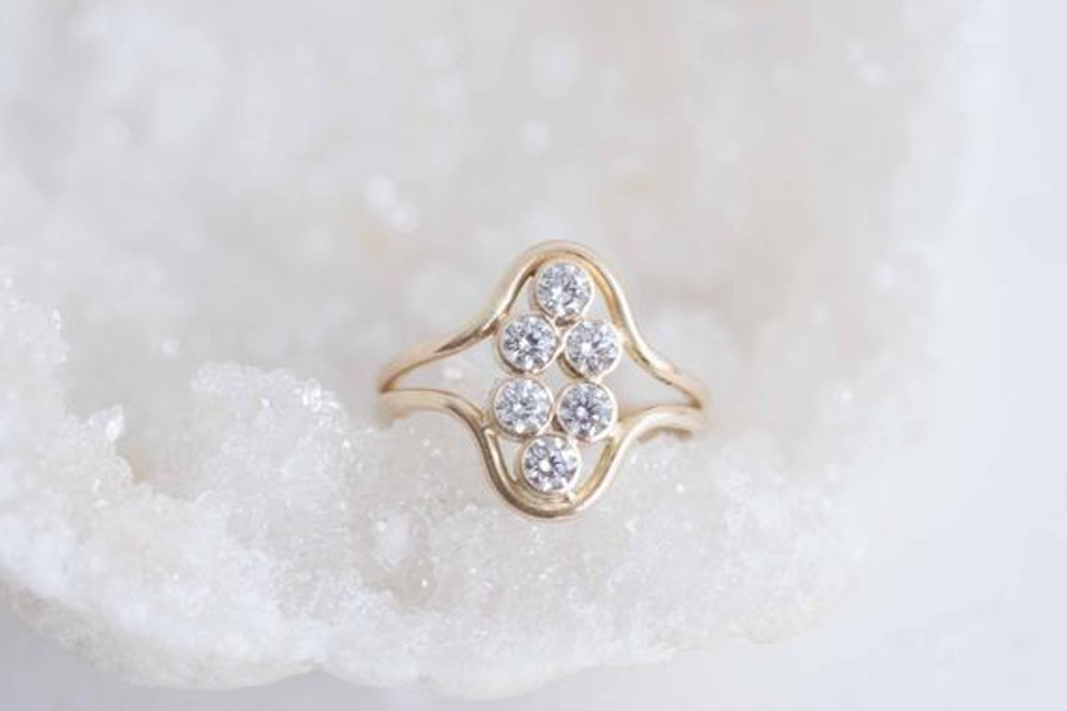 Multi Diamond Curve Ring Solid 14k Recycled Gold