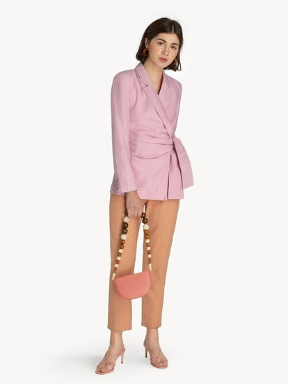 Belted Surplice Top in Pink