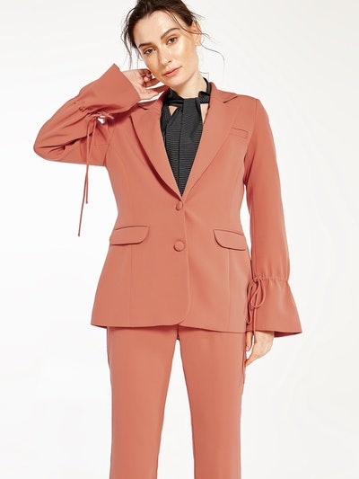 Adalie Poet Sleeve Blazer in Orange