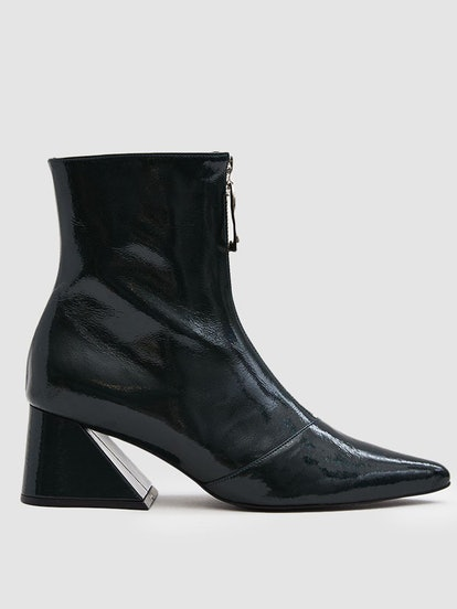 Patent Front-Zip Ankle Boot
