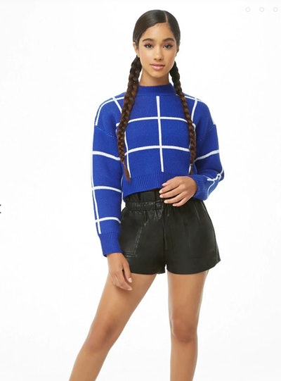 Grid Cropped Jumper