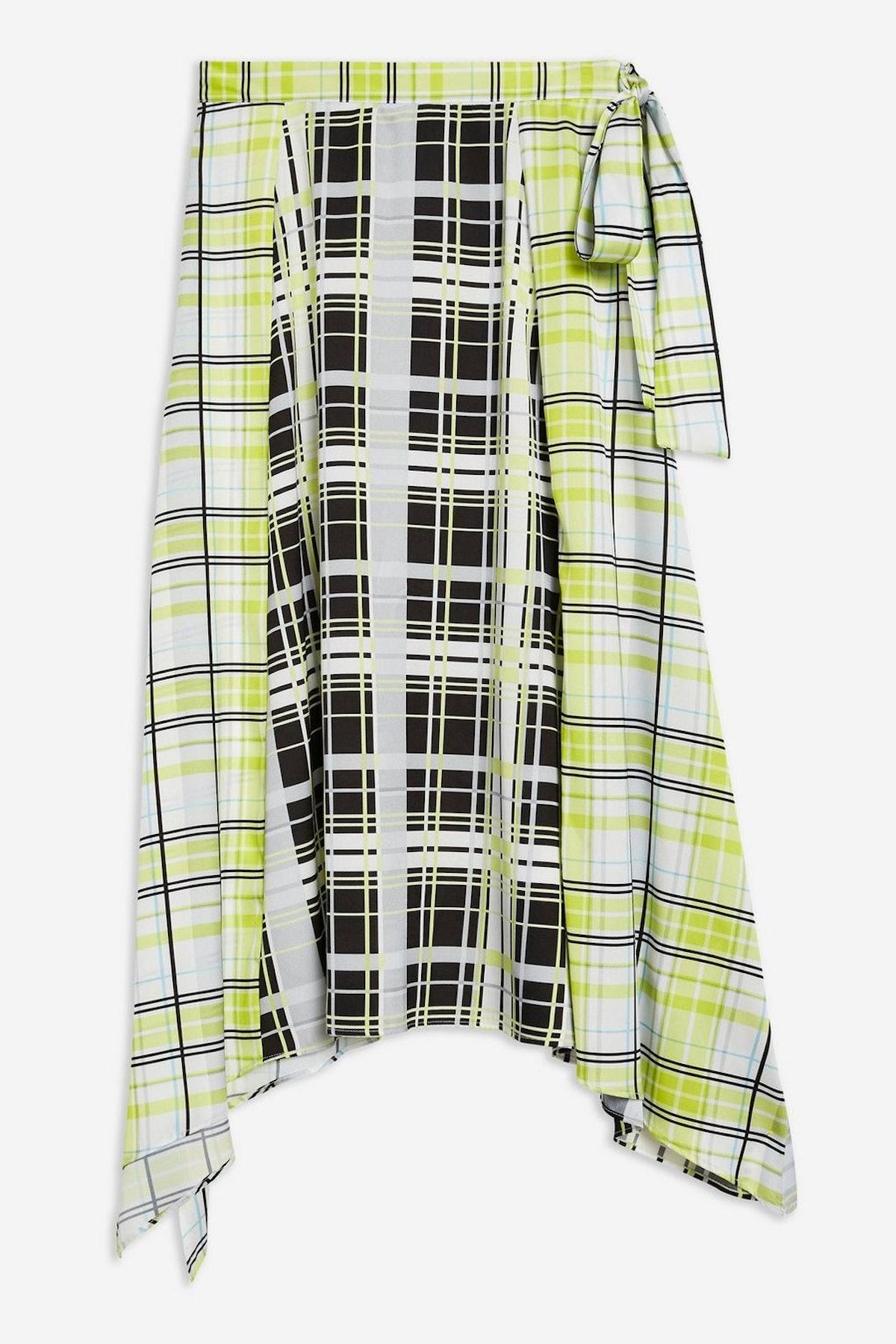 Mixed Check Print Midi Skirt