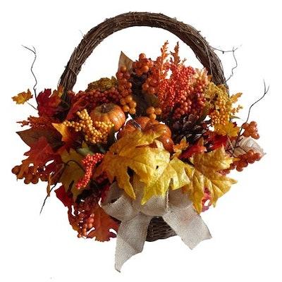 Harvest Thanksgiving Pumpkin Basket Decoration