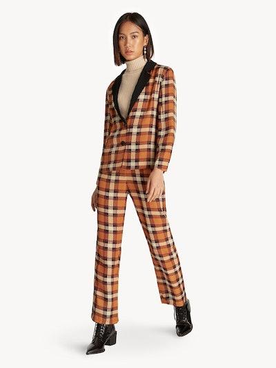Plaid Button Up Notched Collar Blazer in Orange
