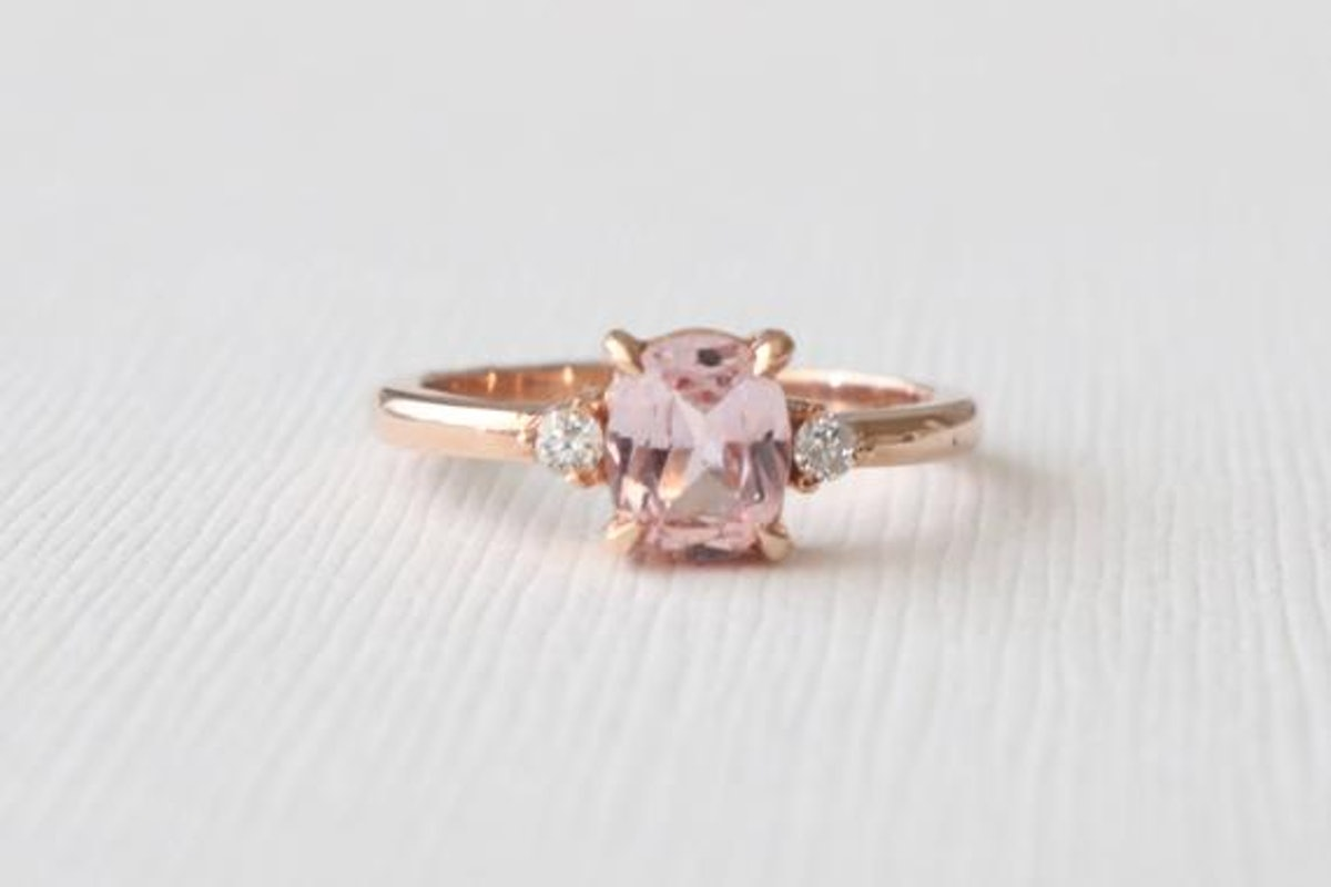 Oval Peach Sapphire and Diamond 3 Stone Bezel Ring in 14K Rose Gold