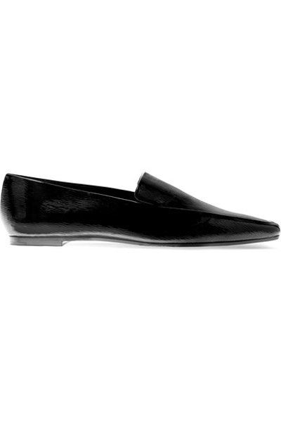 Minimal Textured Patent-Leather Loafers