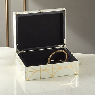Circuit White And Gold Glass Jewelry Box