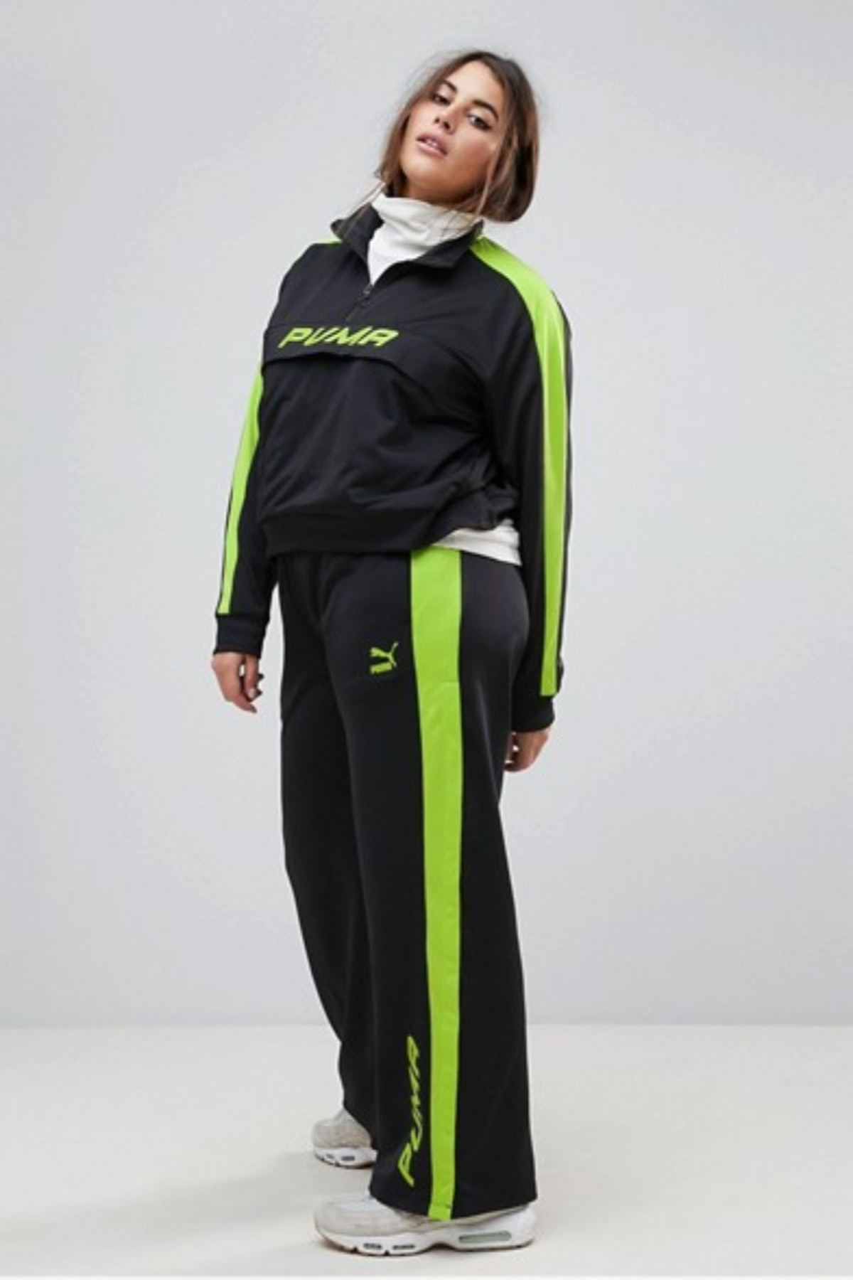 Puma Exclusive To ASOS Plus Track Pant In Black And Lime Green