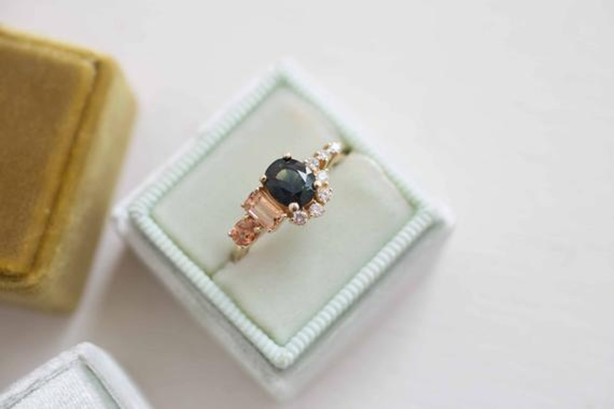 Bi-Color Blue Green Sapphire, Imperial Topaz, Peach Sapphire, and Diamond Cluster Engagement Ring