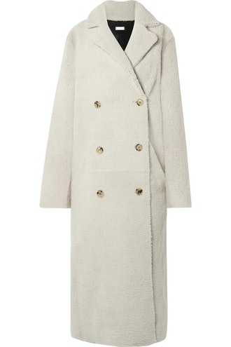 Reversible Double-Breasted Shearling Coat