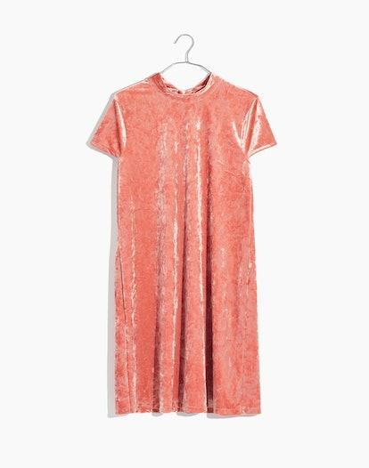 Crushed Velvet Mockneck Dress