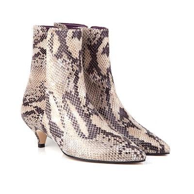 Lulu Faux Snake Vegan Ankle Boots