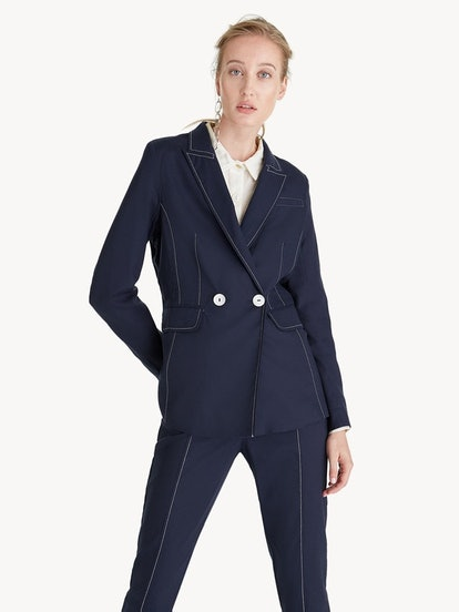 Premium Cotton Contrast Stitch Blazer