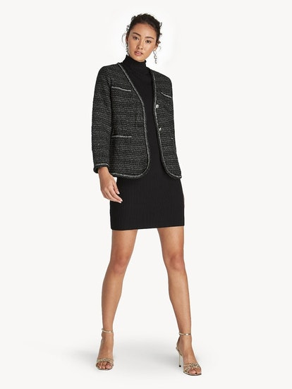Tweed Contrast Trim Blazer in Black