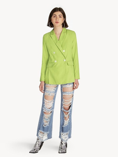 Oversize Double Breasted Blazer in Light Green