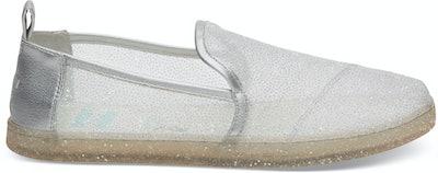 Disney X TOMS Silver Cinderella Glitter Mesh Women's Deconstructed Alpargatas