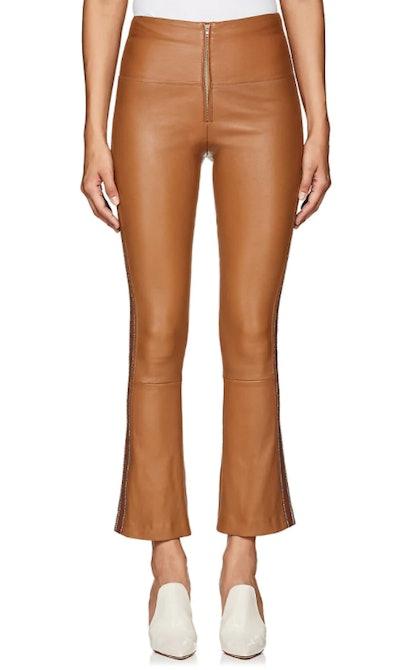Leather Flared-Leg Pants