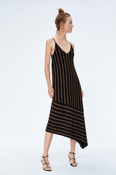 Striped Dress With Metallic Thread