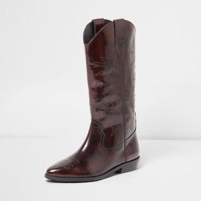 Dark Red Patent Knee High Western Boots