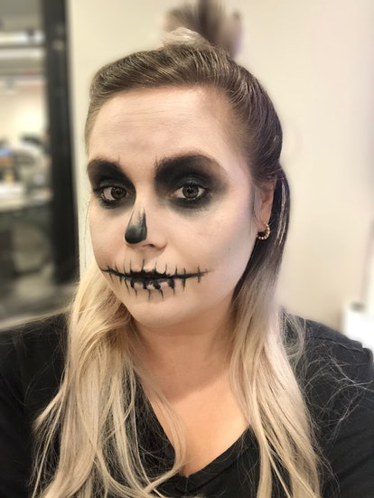 This skull makeup tutorial requires only eyeshadow, foundation, and eyeliner
