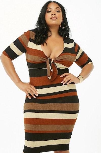 Ribbed Striped Cutout Dress