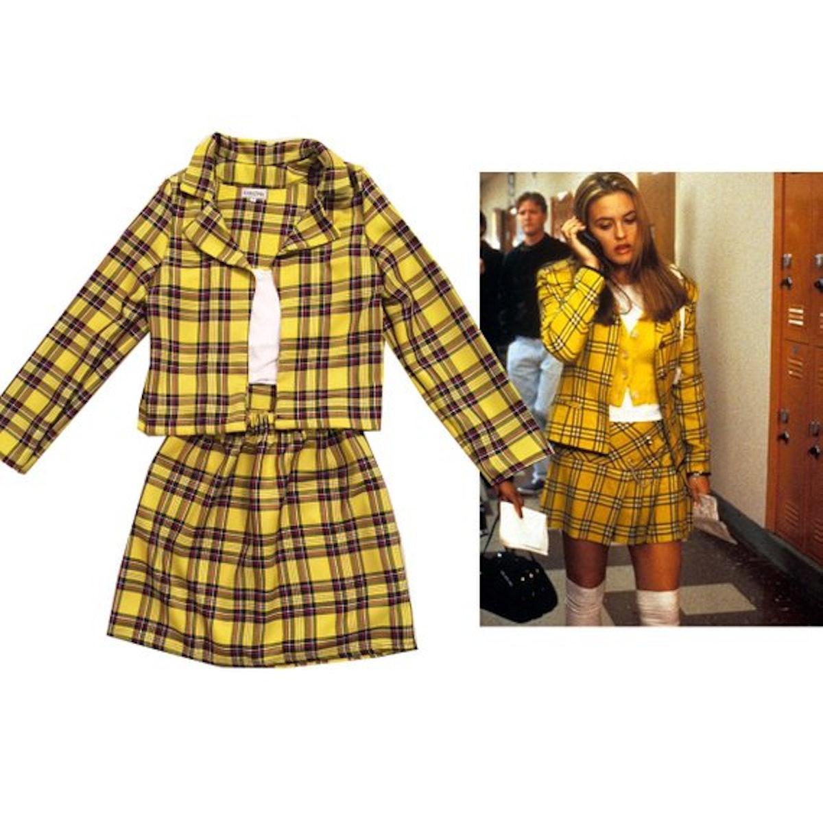 "Cher from ""Clueless"" Yellow Tartan Plaid Costume"