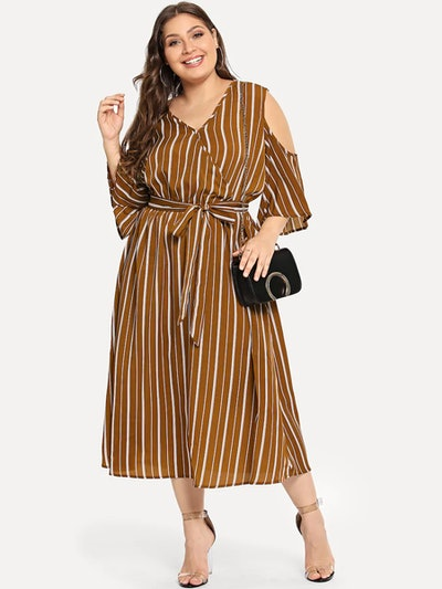 V Neck Vertical Striped Dress